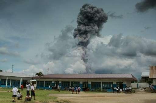 Mt Sinabung in Sumatra, Indonesia erupting in 2017.