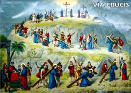This is how this artist has painted the way of the cross of our lord Jesus Christ, I believe that there are twelve station in the way of the cross, starting when Jesus is condemned, and then the stages on the way to Calvary, where he is crucified.