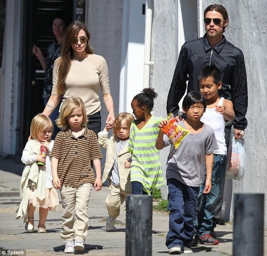 Angelina Jolie and Brad Pitt. Divorce is particularly stressful to kids celebrities adopt for photo-shoot purposes.