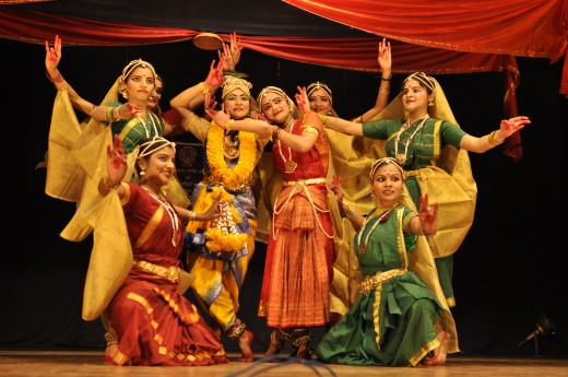 Dancers Performing a Scene from Lord Krishna's Stories