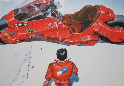 Kaneda and his red motorcycle