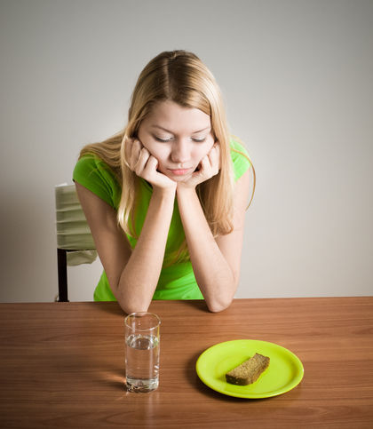 anorexia nervosa- the person does not eat in fear of getting fat