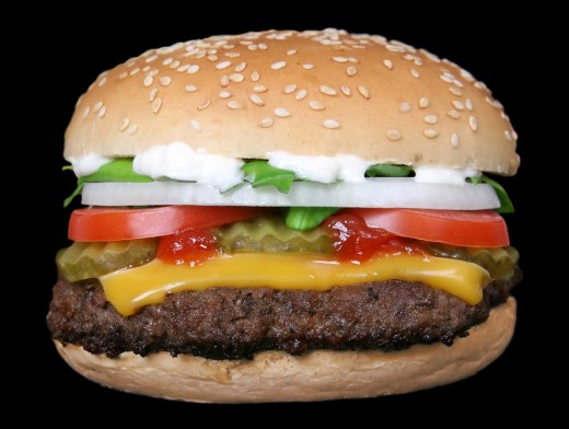 This tasty looking burger probably has more than half your recommended daily calories.