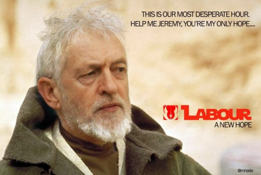 Many see a physical and wise resemblance between Jeremy Corbyn and Alec Guinness who played Jedi Knight Obi Wan Kenobi