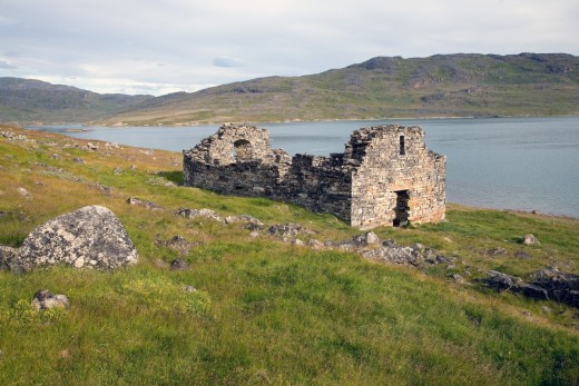 Ruin of Hvalsey church by the eastern settlement. The ruin overlooks Hvalsey Fjord, west of Brattahlid and its long, narrow fjord .