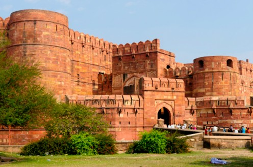The Red Fort in Agra includes the palace area of former Moguls.