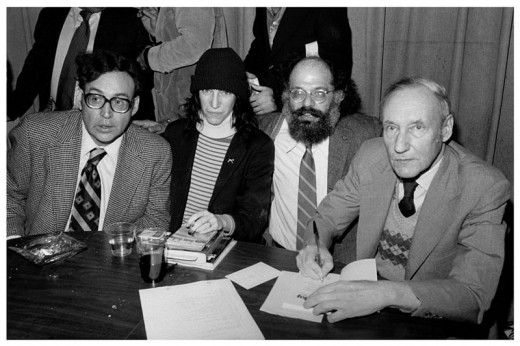 Luminaries of the Beat Generation (l to r) Carl Solomon, Patti Smith, Allen Ginsberg, and William S. Burroughs in 1977.
