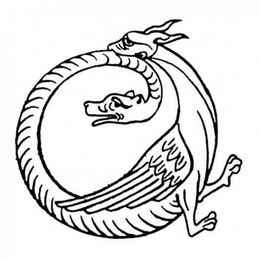 Uroboros, a mythical symbol (of a snake in a circle eating its own tail) with great cosmic significance, is here portrayed as an Amphisbaena.
