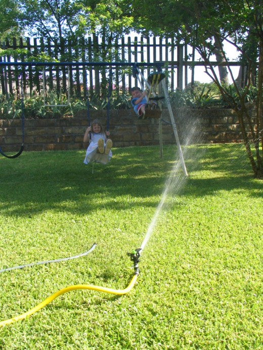 Soaker hoses save most of the water wasted by sprinklers.