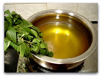 Neem leaves after being soaked for night and then water is boiled and this water is applied 3-4 times a day