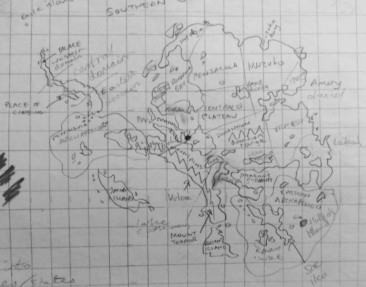 Antarctica without the ice as a fictional Atlantis, with place names, some real some imaginary.