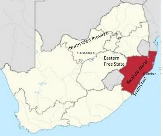 From North West to the South Coast, South Africa
