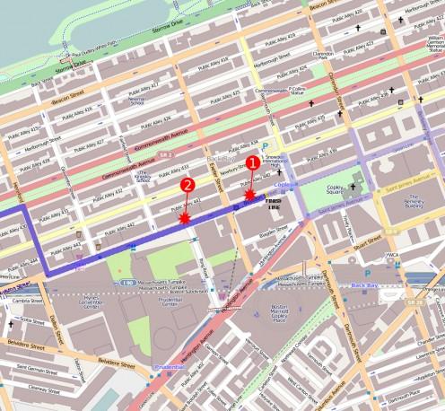 Location of bombs along the Boston Marathon finish line.