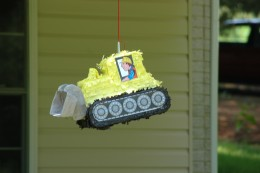 The kids at the party loved the bulldozer pinata!