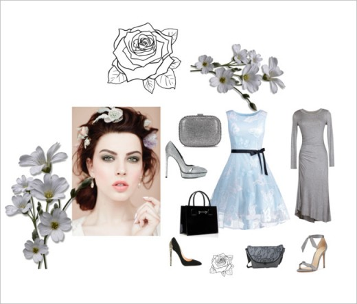 Shades of pale blue and grey with a shimmer in silver accessories.