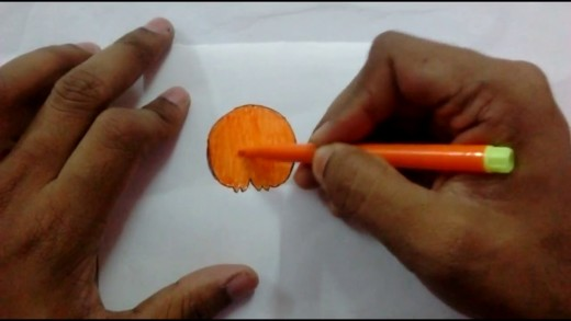 Colour it with orange sketch pen.