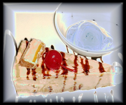 Dreamy cheesecake art from a photo. Makes me hungry!