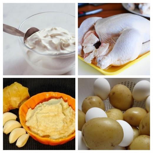 Chicken, yohurt, boiled potato , eggs, ginger garlic paste etc.