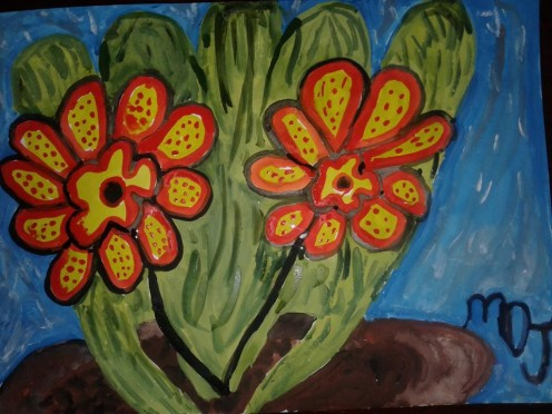 """Finished painting: Title: """"Desert Flower Pot""""."""