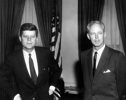 "U.S. President, John F. Kennedy  and University of Oklahoma  football coach, Charles ""Bud"" Wilkinson in the Oval Office."