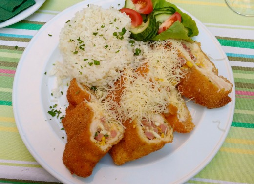 Breaded stuffed meat, a staple of traditional Hungarian restaurants.