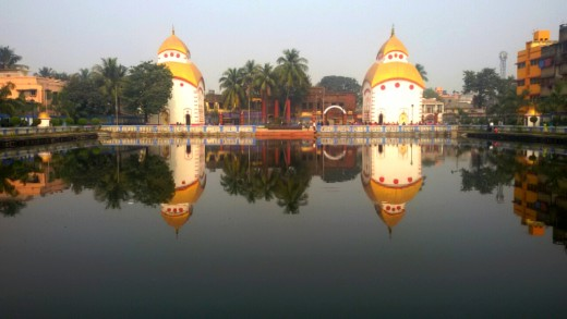 The twin Shiva temples on the bank of Shiva Ganga pond in Bhukailash, Kidderpore, Kolkata