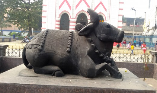 A berautiful stone built Nandi the Bull in front of Krishna Chandreswar temple
