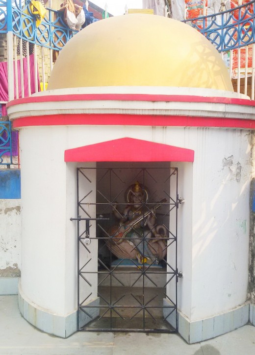 Saraswati temple on the bank of Shiva Ganga pond