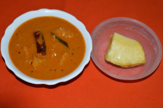 Sweet and spicy pineapple gojju(curry)