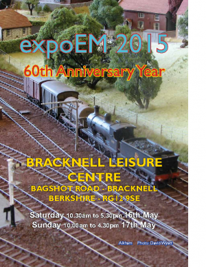 This is a flyer for an EXPO EM model railway exhibition at Bracknell (Berkshire)