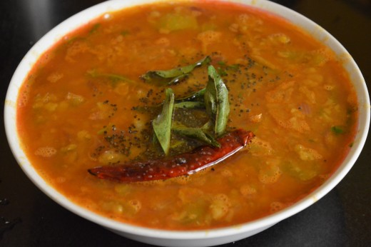 home made raw tomato and onion sambar (without coconut)