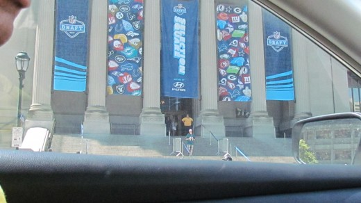 Banners were displayed throughout the city for the NFL Draft event.