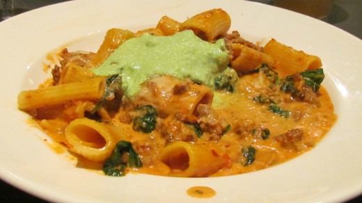 "I had a delicious Spicy Lamb Bolognese pasta dish with Rigatoni, Jersey Crushed Tomatoes, Wilted Spinach and Basil Ricotta at the ""White Dog Cafe."