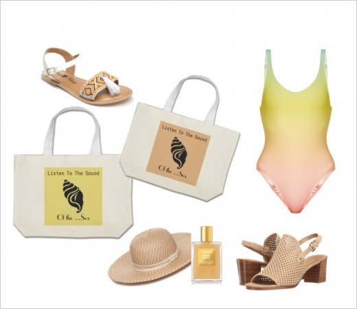 Soft buttery yellow graphic art and soft pink ..ice cream colours for accessories to accompany you to the beach.