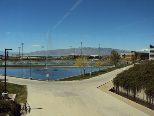 For some five years we have been hosts to two live-in French students who are now completing the last year of their bachelor degrees at 30,000 students Utah Valley University.  This is a view from inside a main UVU building looking out to the west.