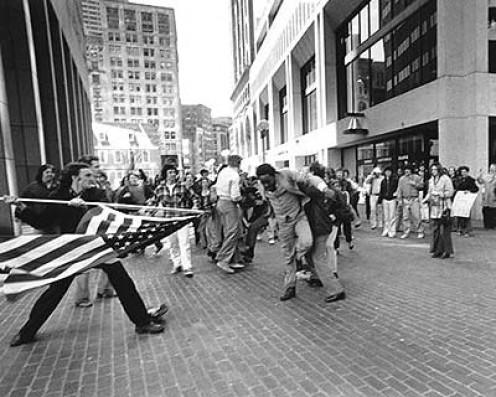 Stanley Foreman's iconic photo of the Boston Schools Desegregation crisis.