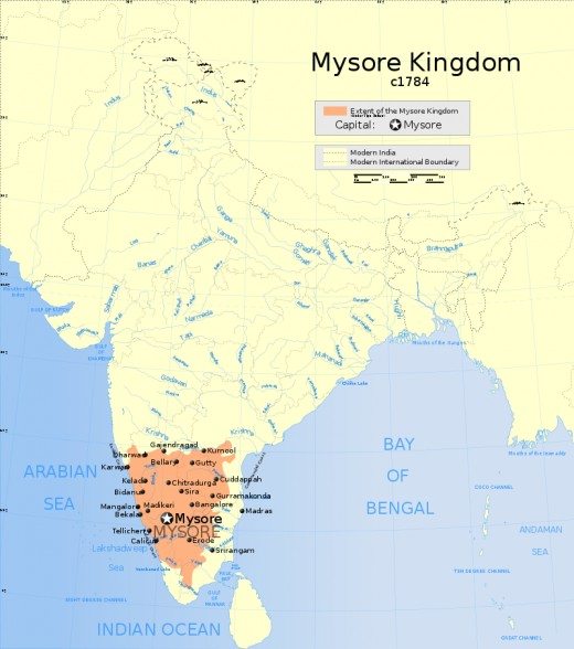 The Kingdom of Mysore at its greatest extent in 1784