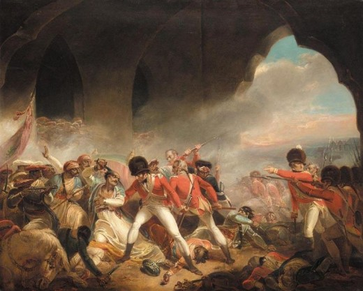 The death of the Tipu Sultan during the final siege of the city of Srirangapatna.