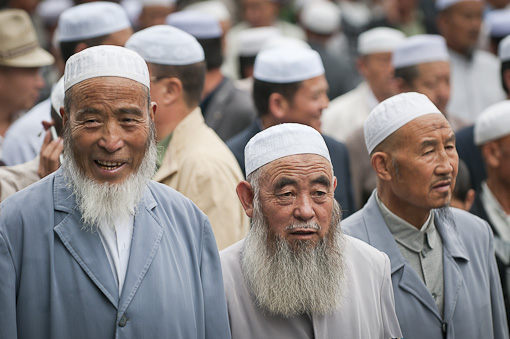 Muslims gathering together for worship in China.