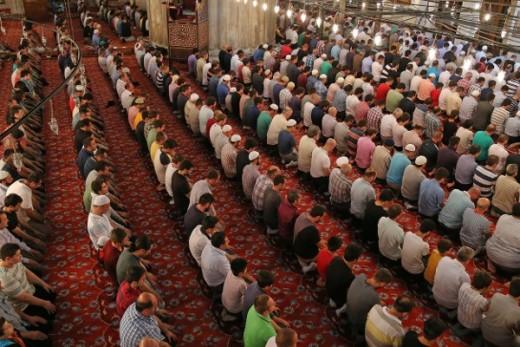 Prayer in a Turkish Mosque.