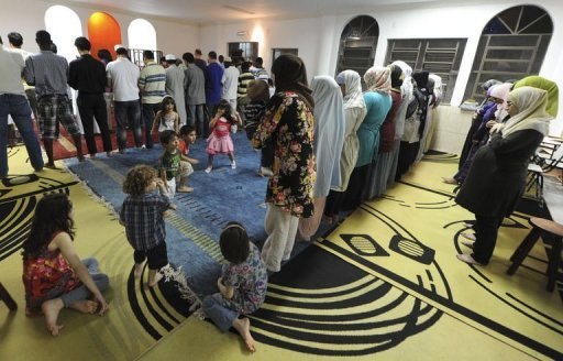 Muslims in Brazil praying together.