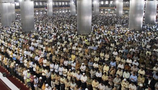 Muslims in Indonesia during Ramadan praying.