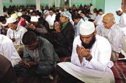 Muslims worshiping Allah in Trinidad.