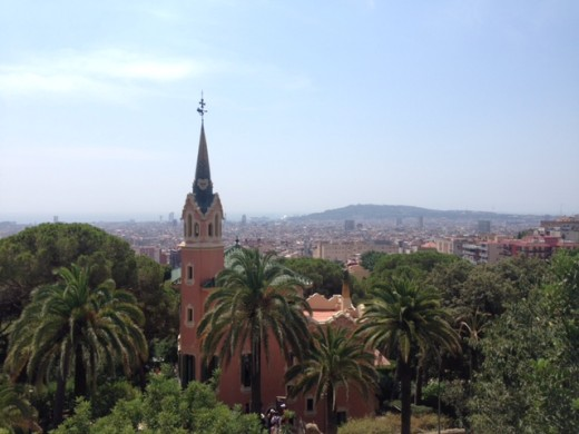 View of Barcelona from the top of Parc Guell!