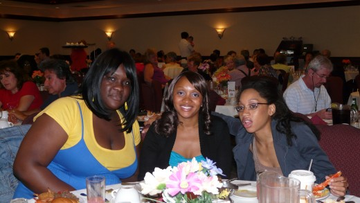 Shahidah , Nicole, and Monique at the Banquet.