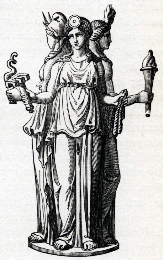 Hecate in her triple-goddess form.