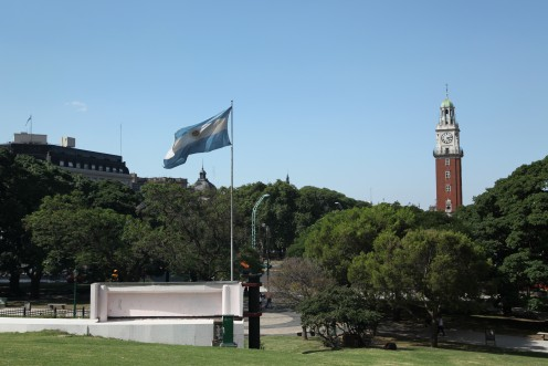 Torre Monumental viewed from Plaza San Martin in Buenos Aires