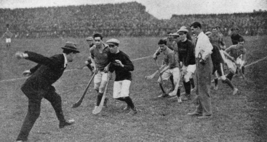 Early shot of a hurling match