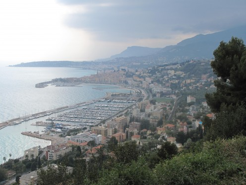 Menton (Alpes-Maritimes, France) from the heights of Super-Garavan near the highway (Alpes-Maritimes)