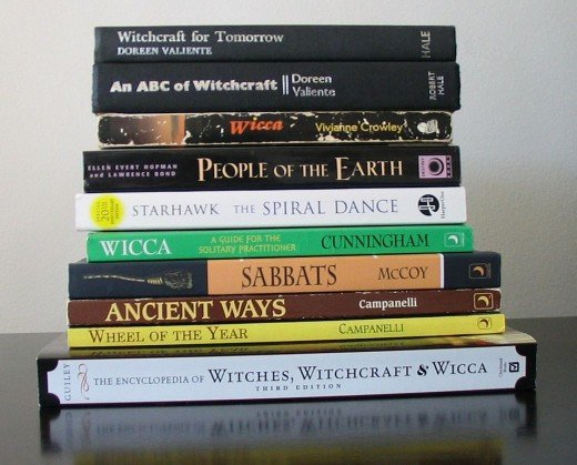 A few of Doreen Valiente's books featured in this pile of occult books.